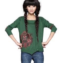 正品 2014春装新款 女 绣花针织衫 开衫外套浮桑初 绿色