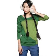 2014春款打底毛衫拼色毛衣 长袖套头针织衫 莺 绿色