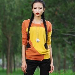 2014春款打底毛衫拼色毛衣 长袖套头针织衫 莺 橙色