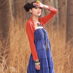 春装 披肩式 超短款 针织 衫开衫 女装 青鸟 橙色
